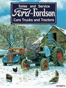 A dynamic duo! The Ford and Fordson Retro Metal Sign pictures a classic Fordson tractor alongside a vintage Ford automobile. A natural for your garage or farmhouse decor. Vintage Tractors, Vintage Farm, Vintage Metal, Vintage Tools, Vintage Style, Tin Signs, Metal Signs, Wall Signs, Agriculture