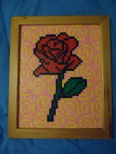 Rose Hama Bead Picture (Framed) #howto #tutorial