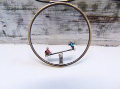 Seesaw Handmade Necklace Kids Figures On A by pepeyoyojewellery
