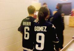 Justin Bieber and Selena Gomez in Winnipeg, Canada at the Jets hockey game, October 2011 Justin Love, Justin Bieber Selena Gomez, Estilo Selena Gomez, Justin Bieber And Selena, Love Will Remember, When U See It, Marie Gomez, Best Couple, Couple Pics
