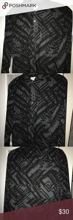 Mens Calvin Klein Going Out Shirt Black/Grey design Calvin Klein going out shirt. Slim Fit. Perfect condition Calvin Klein Shirts Casual Button Down Shirts