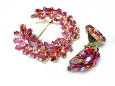 Pink Rhinestone Set Brooch Vintage Pin Earrings Set by SoBejeweled