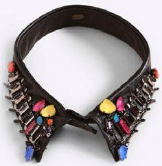 jewel embellishment on leather collar