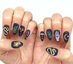 Nail Design Stiletto, Nail Design Glitter, Stiletto Nails, Pointed Nails, Cute Acrylic Nails, Gel Nails, Witch Nails, Nagellack Trends, Painted Nail Art