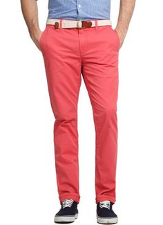 Bonobos 100% Cotton Lobster Red Slim Fit Straight Leg Washed Chinos