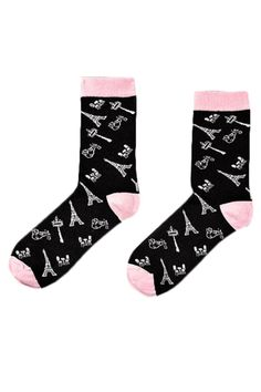 Women's crew sock with Paris inspired icons design. Black base with soft pink toe and heel. Our socks are all anti-microbial and breathable so that your feet stay clean and fresh all day. Fits sizes 5-10.  Paris Themed Socks by Yo Sox. Accessories - Socks Canada