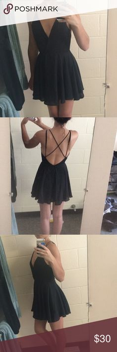 Black strappy backless Silence and Noise dress backless little black dress Urban Outfitters Dresses Mini