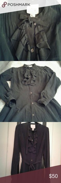 YMC Silk Shirt Dress Asos/ Modcloth/ You Must Create lovely 'prairie style' shirt dress. Heavy silk greenish black color, pretty flower buttons, pleats and ruffles. Fabric belt. Gently worn, needs to be steamed but otherwise perfect condition. ModCloth Dresses