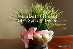 I love this Easter grass spring decor! #Easter #spring http://media-cache5.pinterest.com/upload/163325923956491001_oOoX34Xp_f.jpg oopseydaisy easter