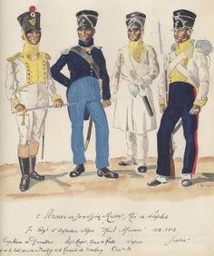 Capitano, adjudant Major, zappatore e fuciliere del 7 rgt. fanteria di linea del regno di Murat