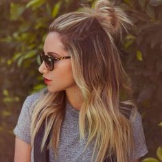 Half bun and beach waves.