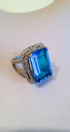 Vintage Sterling Silver Aquamarine Ring Estate Jewelry Ring, via Etsy.