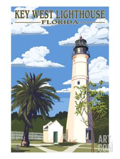 Key West Lighthouse, Florida Day Scene Art Print by Lantern Press at Art.com