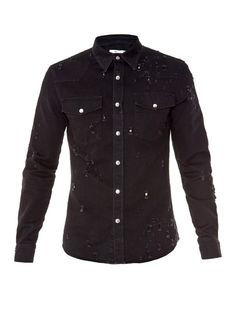 eebaab966fa Givenchy Destroyed denim shirt Vogue Hommes