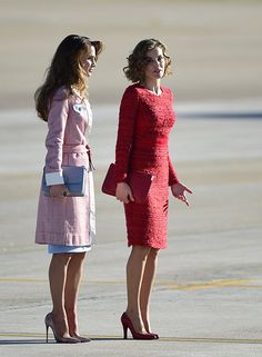 Queen Letizia of Spain and her counterpart Queen Rania of Jordan showed off their sartorial prowess as they met in Madrid on the first day of Rania's state visit