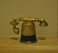 Vintage thimble novelty telephone  Metal  by PilgrimValley on Etsy, £4.00