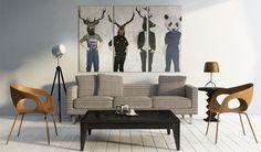 Obraz wydruk banksy jeleń panda 120x80cm 020115-1 - artgeist - Wydruki na płótnie