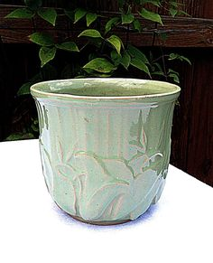 Vintage 1940 Rare McCoy Jardiniere Planter Green  Embossed Signed // McCoy Pottery // Art Pottery