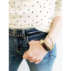 Casual Friday  | Wearing the polka-dot tippi sweater with shoulder buttons, destroyed/patched jeans, studded leather skinny belt in black, gold cuff and tortoise shell bracelet all from @jcrew ❤️ #howtojcrew #aotd