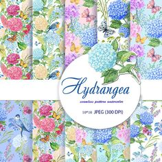 flower pattern,digital paper, hydrangeas flower,,Decorative Paper, seamless pattern,Scrapbooking ,watercolor pattern,flowers watercolor by mitrushovaart. Explore more products on http://mitrushovaart.etsy.com