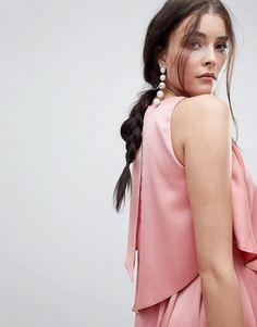 b4f473ae7c Chic pink dress for a wedding guest under 100! Satin Midi Dress, Pink Dress