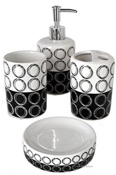 4 piece retro black white circles geometric ceramic bath bathroom accessory set