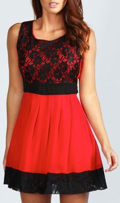 Red & Black Lace Panel Chiffon Skater Dress ♥ At VargaStore.com we love cute Red Dresses for Women. We are all about women's fashion.