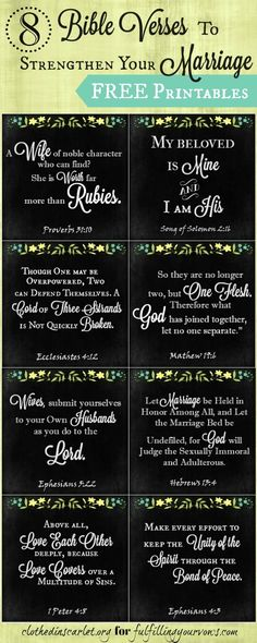 8 Bible Verses to Strengthen Your Marriage + Free Printables :: There is life in God's Word that can inspire you to breathe love into your own marriage. Here are 8 Bible verses to strengthen your marriage. Marriage and couple quotes. Godly Marriage, Marriage Relationship, Marriage And Family, Happy Marriage, Marriage Advice, Marriage Verses, Godly Wife, Healthy Marriage, Strong Marriage