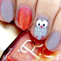 """Cute little owls Obviously I am not the first to do owl nails, so this is not an original idea, but I came up with this design with the help of google search for """"owl cartoon"""""""