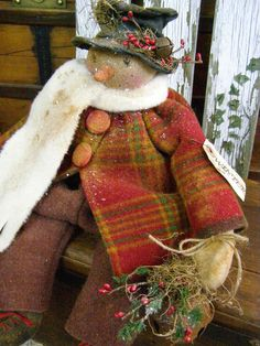 PRIMITIVE SNOWMAN DOLL OLD WOOL OLD BUTTONS FOLK ART SNOWMAN DOLL LARGE BELL