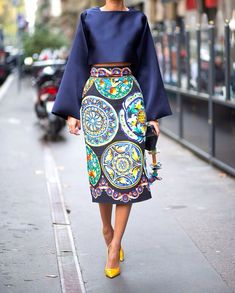 Cropped blouson top and printed skirt