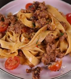 MICHAEL SYMON Creamy Fettuccine with Spicy Sausage and Cherry Tomatoes - Chew Recipes