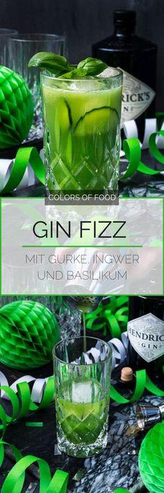 Suchst du nach einem ausgefallenen Gin-Longdrink? Dann probier diesen super erfrischenden, leicht scharfen Gin Fizz mit Gurkensaft und feiner Basilikumnote.
