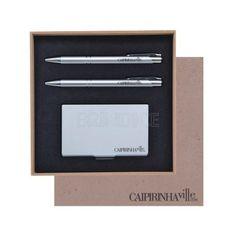 Kit corporativo personalizado, com caneta, lapiseira e porta-cartão. www.brindice.com.br/brindes/kit-corporativo