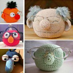 Crochet Mupped Glasses Holder