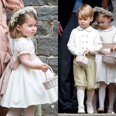 OPT FOR TRADITIONAL CHILDRENSWEAR  Prince George and Princess Charlotte stole the show in their very traditional pageboy and bridesmaid outfits.   Ring bearers in knickerbockers and flowergirls decked out in frills and bows add an adorably classic touch to the ceremony. And brides and grooms are in luck – Pepa & Co, the Spanish brand behind George and Charlotte's outfits, has now released a collection of kids' celebration wear that anyone can buy.