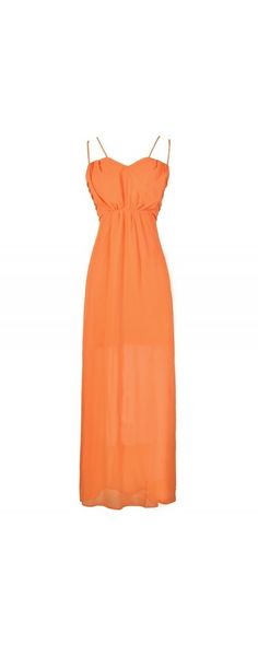 Greta Chiffon Dual Strap Maxi Dress in Orange