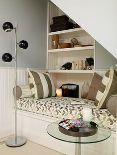 """reading corner -- one day I want one, a mini room like the """"relaxation"""" room (closet) at the Crescent Spa.  A tiny tucked away quiet spot to read or disappear!"""