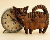 Primitive Black Angry Cat Lover Gift Folk Art Textile doll Primitive decor Halloween Cat collectible Primitive Animal Primitive doll