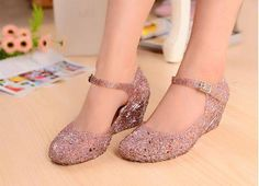 Silver Summer Breathable Crystal birds nest wedge sandals ☂  ☂. ✿ ☺