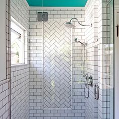 Herringbone Subway Tile Shower - Design photos, ideas and inspiration. Amazing gallery of interior design and decorating ideas of Herringbone Subway Tile Shower in bathrooms by elite interior designers. Modern Bathroom Tile, White Bathroom, Bathroom Faucets, Bathroom Ideas, Tiled Bathrooms, Master Bathroom, Shower Ideas, Condo Bathroom, Bathroom Trends