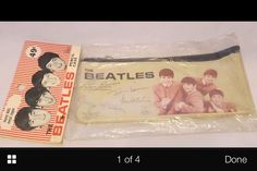 Original  vintage Beatles pencil case - with header in bag  rarely found intact like  this - just as you would have found it in the store in 1964