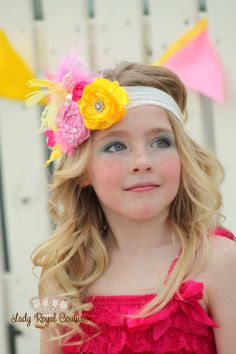 PRINCESS ANNE - Rosette Satin Flower Headband- Girl Headbands - Little Girl Clothing - Woman Headband - Sweet Shoppe Shop - Pink and Yellow