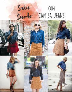 COMO USAR saia suede com camisa jeans