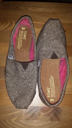 Toms glittery tweed burlap flats size 8 W #Toms #balletflats