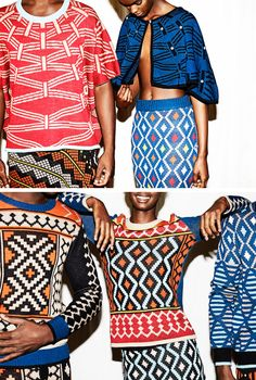 "MaXhosa collections of South African knitwear designer Laduma Ngxokolo. His line was designed as a knitwear solution to Xhosa initiation rights, that includes a tradition of dressing up in ""new dignified formal clothing for six months after initiation."""