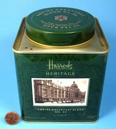 Harrods Heritage collection Empire Breakfast Blend No. 34 tea tin, dark green with historic image of the London department store and coat of arms on lid, c. Tea Canisters, Tea Tins, Turmeric Milk, Fortnum And Mason, Tea Caddy, English Food, Tea Blends, Vintage Tins, Harrods