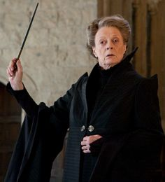 Professor Minerva McGonagall, O.M. (First Class), (b. 4 October, 1935) was a half-blood witch, the only daughter of Muggle Robert McGonagall and witch Isobel Ross. She was a registered Animagus who attended Hogwarts School of Witchcraft and Wizardry from 1947-1954 and was Sorted into Gryffindor House (but it took the sorting hat 5 ½ minutes to decide if she was Gryffindor or Ravenclaw, therefore making her a hatstall). After her education, she worked for two years at the Ministry of Magic...