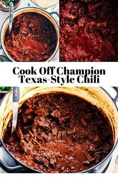 Cook Off Champion Texas-Style Chili This is the best ever chili recipe! Our cook off-winning Texas-style chili recipe is rich, thick an Best Chili Recipe Beef, Chilli Recipes, Gourmet Recipes, Mexican Food Recipes, Cooking Recipes, All Day Chili Recipe, All Meat Chili Recipe No Beans, Award Winning Chili Recipe No Beans, Chili With No Beans