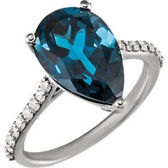 14KW London Blue Topaz Diamond Ring. #MyStullerStyle p.325